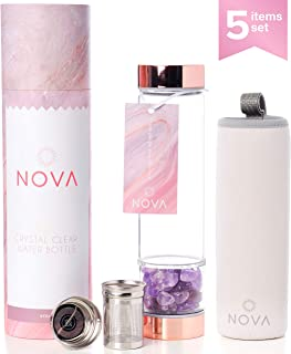 Rose Gold Crystal Elixir Infused Gem Water Bottle – with Tea Infuser – Wellness Glass and Stainless Steel Includes Protective Sleeve and Removable Amethyst Crystal – 15 oz (Amethyst Crystal)