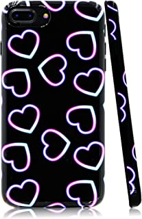 Lartin Neon Lights with Glow Colorful Shiny Hearts Soft Flexible Jellybean Gel TPU Case for iPhone 8 Plus/iPhone 7 Plus/iPhone 6S Plus/iPhone 6 Plus