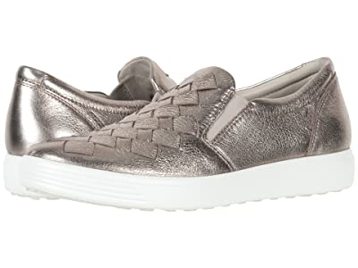 ECCO Soft 7 Woven Slip-On (Warm Grey Cow Leather) Women