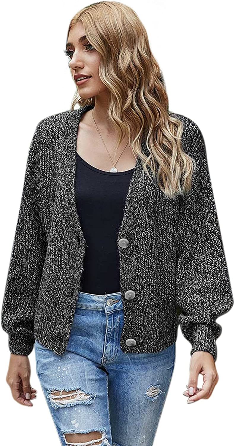 Woolicity Women's Cardigan Sweater Open Front Long Sleeve V Neck Button Down Knitwear Loose Outerwear Cardigans