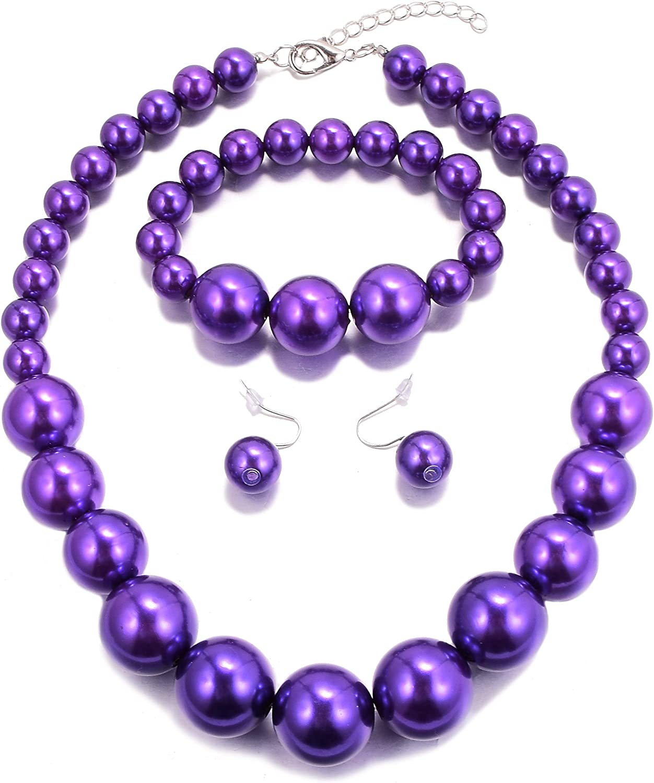MJULY Women Big Faux Pearl Necklace Bracelet and Earrings Set Large Pearl Jewelry