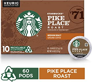 Starbucks Pike Place Roast Medium Roast Single Cup Coffee for Keurig Brewers, 6 Boxes Of 10 (60 Total K Cup Pods)
