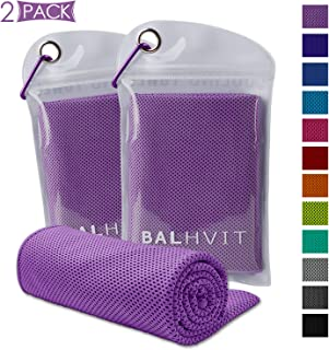Balhvit [2 Pack] Instant Relief Cooling Towel, Ice Towel, Microfiber Towel, Use as Chilly Neck Headband Bandana Scarf, Cool Cold Towels for Yoga Beach Travel Sports Running Camping