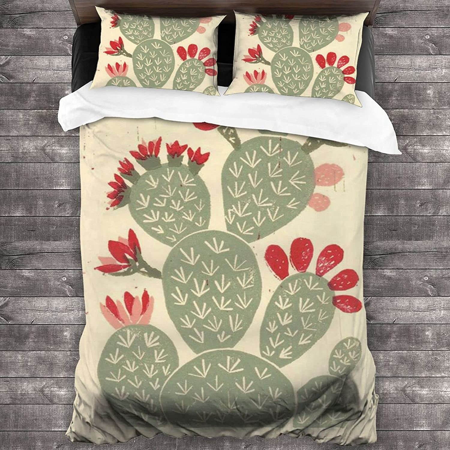 3 70% Special price for a limited time OFF Outlet Piece Bedding Set-Vintage Cactus fo Pattern Sets Style