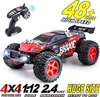 Hishertoy 1:12 Remote Control Car 48+KM/H 4WD High Speed Off Road RC Car for Boy RC Trucks for Adults 2.4Ghz Remote Control Vehicle Buggy Hobby Grade Race Car for Kids and Adults