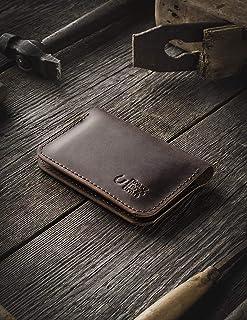 Cartera de cuero y titular de la tarjeta de crédito | Wood Brown hecho a mano minimalista delgado de cuero curtido vegetal...