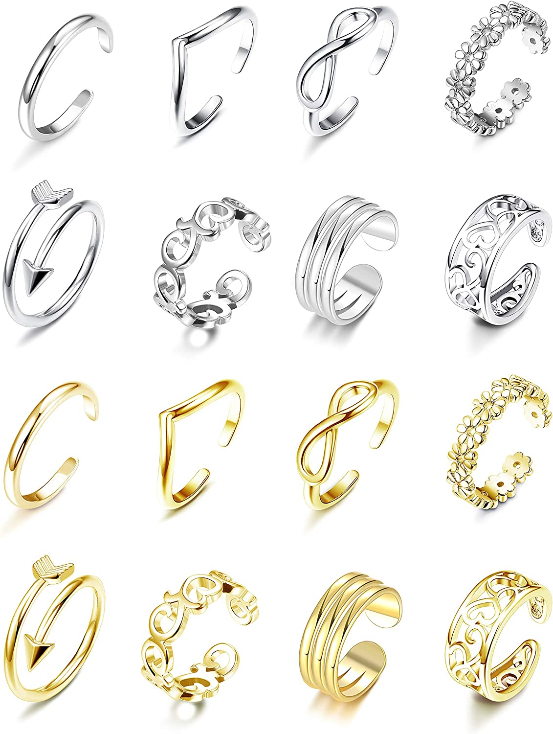 CASSIECA 16 Pcs Adjustable Toe Rings for Women Tail Open Ring Set Vintage Retro Wave Band Infinity Hollow Flower Celtic Knot Arrow Gift Jewelry