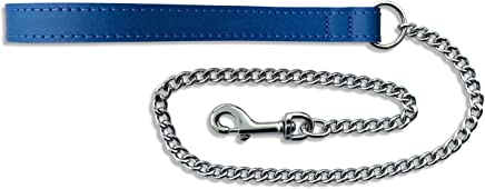 BBD Pet Products Leather Chain Lead, One Size, Medium, 30 x 5/8-Inch, Royal