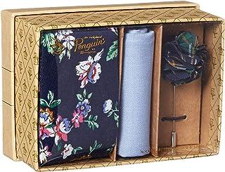 Original Penguin 男式 3 件套花卉领带,方形口袋和翻领别针盒