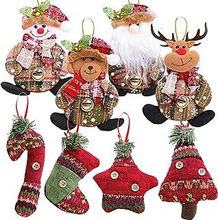 MEJOSER 8Piezas Colgantes árbol Navidad Adornos Navideños Muñecos de Nieve Papá Noel Reno Decoración Fiesta Regalo Manuali...