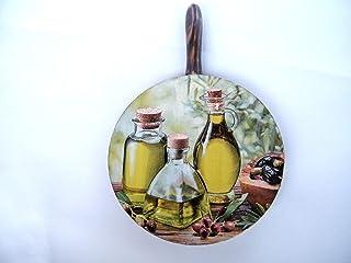 Salvamanteles de Madera, Tabla de Cortar Rustico, Aceite de Oliva Decoracion de Cocina, Redonda Placa d-13 cm