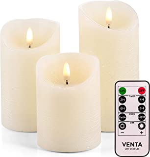 """Venta Set of 3 Realistic Flameless Ivory LED Candles with Remote Control – 4"""" 5"""" 6"""" Electric Wickless Pillar Battery Operated Candles with Flickering Flame Timer"""