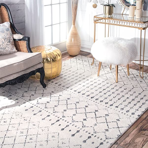 NuLOOM Moroccan Blythe Area Rug 8 X 10 Grey Off White
