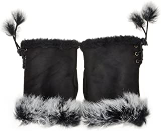Women Teen Classic Winter Warm Rabbit Fur Hands Wrist Fingerless Gloves Mittens