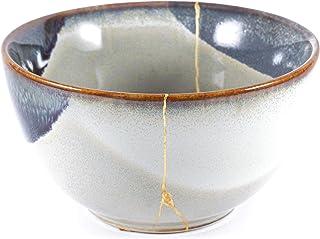 Ciotola Kintsugi, ceramica di colore grigio restaurata con l'antica tecnica giapponese del Kintsukuroi, finitura in oro vero