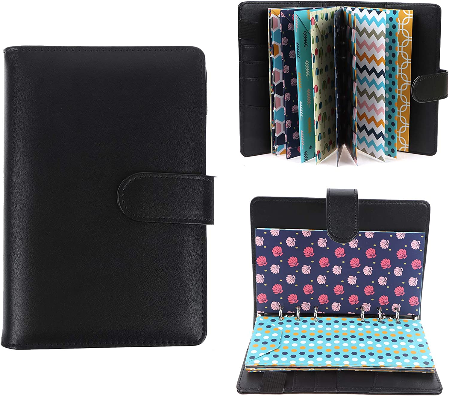 Xgood 28 Pieces PU Leather Budget Planner Organizer Binder Cash Envelope System for Budgeting Envelopes 12 Patterns Budget Money Envelopes, 12 Expense Budget Sheets with 24 Labels for Bill Planner: Home & Kitchen