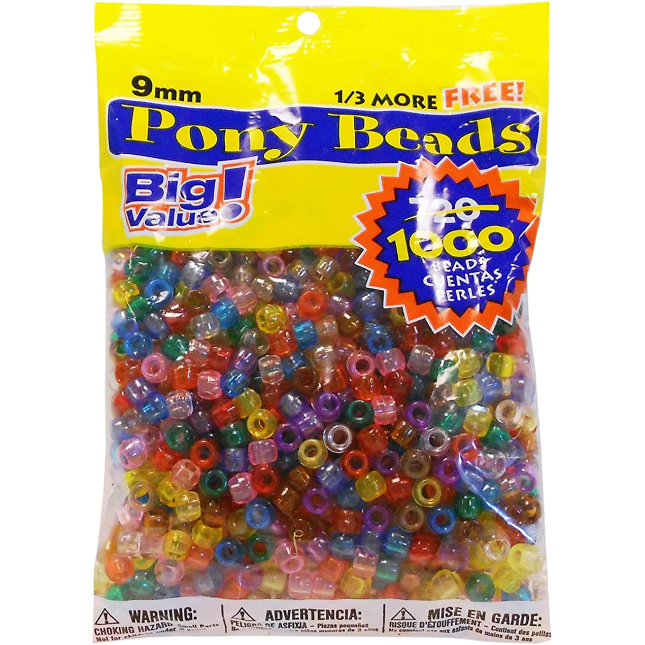 3-Pack - Darice Value Pack Pony Bead, 9mm, Transparent Multicolor, 1000 Beads per Pack