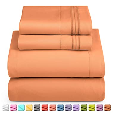 Nestl Luxury Queen Sheet Set - 4 Piece Extra Soft 1800 Microfiber-Deep Pocket Bed Sheets with Fitted Sheet, Flat Sheet, 2 Pillow Cases Hotel Grade Comfort and Softness - Rust Sienna (Orange Brown)