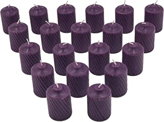Purple Plumeria Scented Votive Candles - 15 Hour Long Burn Time - Textured Finish - Box of 20