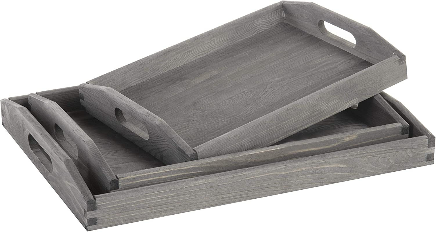 MyGift Set Of 3 Nesting Vintage Gray Wood Serving Trays