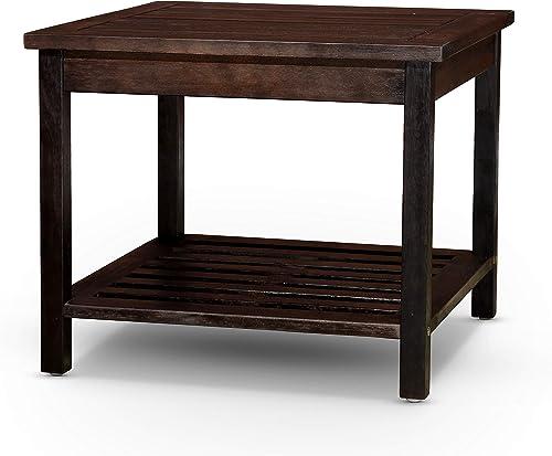 high quality DTY Outdoor Living Longs Peak Eucalyptus wholesale Two Shelf Side wholesale Table - Espresso online