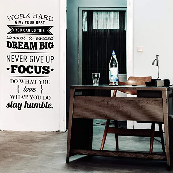 Vinyl Wall Art Decal Work Hard Give Your Best You Can Do This 40 X 20 Motivational Home Living Room Office Quote Positive Modern Bedroom Dorm Room Apartment Indoor Outdoor Wall Decor