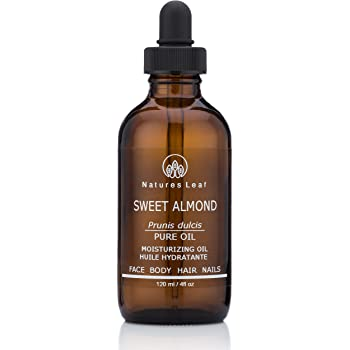Natures Leaf Organic Sweet Almond Oil 100% Pure / Cold Pressed / Dry, Itchy Skin, Fine Lines & Wrinkles, Crows Feet, Split Ends, Frizzy's, Scars, Stretch Marks, Skin Cleanser / 4 fl oz