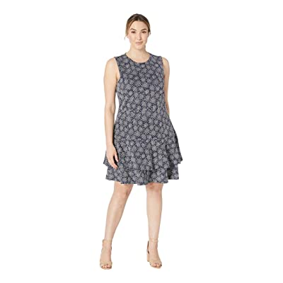 MICHAEL Michael Kors Plus Size Field Of Flowers Long Sleeve Double Tier Dress (True Navy/White) Women