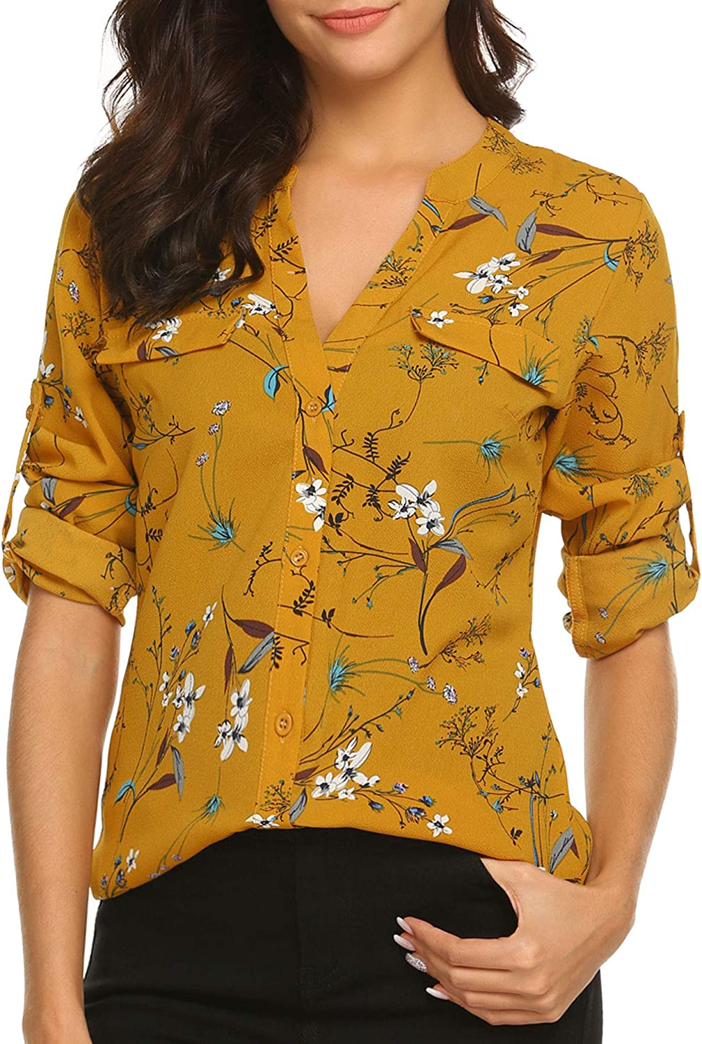SoTeer Women Long Sleeve Tunic Tops Button Down Chiffon Shirts Floral Printed/Solid Henley V Neck Blouses