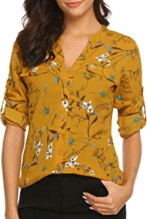 BEAUTEINE Women Button-Down Chiffon Shirts Floral Printed Henley V Neck Blouses Cuffed Sleeve Tunic Tops