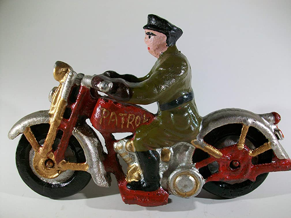 BlueRidge Barn Cast Iron Motorcycle with Rider Figurine