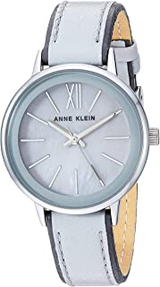 Women's Silver-Tone and Light Grey Leather Strap Watch