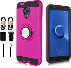 Alcatel 1X Evolve Case, Alcatel Ideal Xtra Case, 6goodeals Dual Layer, Rotating Ring Kickstand Protective Case with Magnetic Case Cover for for Alcatel TCL LX [Value Bundle] (Pink)
