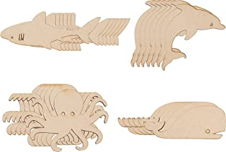 Wood Cutouts - 24-Pack Unfinished Wooden Cutouts, Octopus, Shark, Whale, Dolphin Shapes for DIY Arts and Crafts Projects, Decorations, Ornaments, 6 of Each