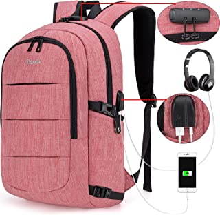 Tzowla Business Laptop Backpack Water Resistant Anti-Theft College Backpack with USB Charging Port and Lock 15.6 Inch Computer Backpacks for Women Girls, Casual Hiking Travel Daypack(Red)