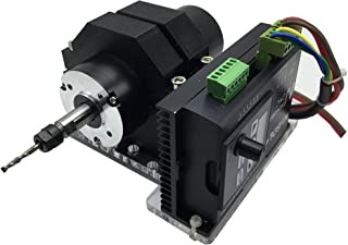 DC Spindle Brushless Motor 400W, Aire Cooled, ER8 Collet High Precision PWM Speed Control with 48V Power Supply