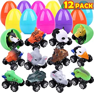 """UFUNGA 12 Pack Jumbo Easter Eggs Filled Animal Pull Back Cars,3.95"""" Plastic Easter Eggs with Novelty Toys Cars,for Classroom Prize Supplies,Basket Stuffers,Theme Party Favor for Kids (3.95in)"""
