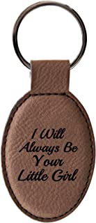 ThisWear Father Daughter Gifts for Dad I Will Always Be Your Little Girl Leather Oval Keychain Key Tag Brown
