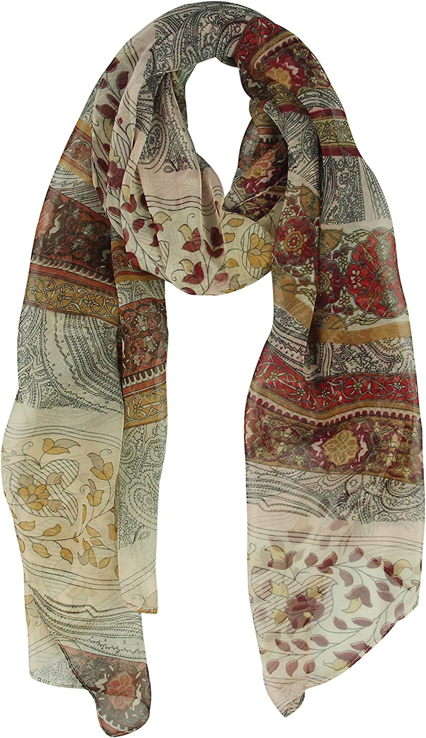 Long Chiffon Sheer Scarf Gradient - Pantonight Shaded Colors Lightweight Scarf For Womens