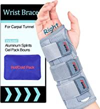 Carpal Tunnel Wrist Brace | Night Sleep Support Brace, Removable Metal Wrist Splint- Hot/Ice Pack, Right Hand, Small/Mediu...