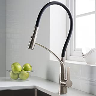 KRAUS CarboFlex Single Handle Dual Function Pull Out Kitchen Faucet with Flexible Black Sprayer Hose and Easy-Clean Silicone Nozzles in Stainless Steel Finish