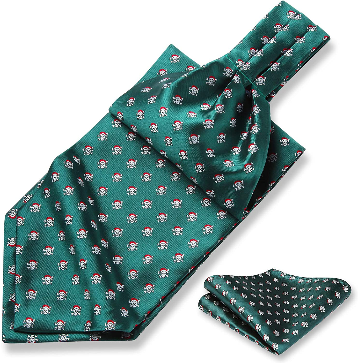 HISDERN Mens Christmas Ascot Ties Festival Snowflake Cravat Scarf Necktie & Pocket Square Set for Holiday Party