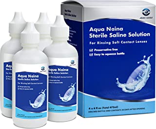 Aqua Naina - محلول نمک استریل رایگان نگهدارنده برای تمیز کردن ، شستشو و نگهداری لنزهای تماسی نرم (4 بسته) - فرمولاسیون مشابه Unisol 4