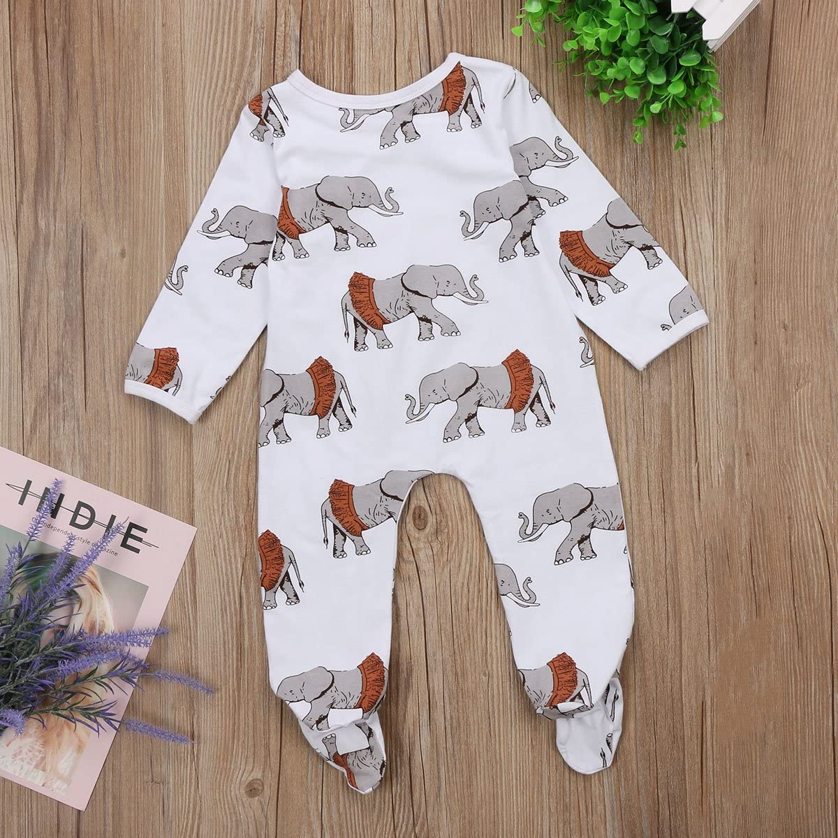 Baby Boy Girl Footed Pajamas Newborn Cotton Elephant Romper Playsuit Fall Clothes 0-18M