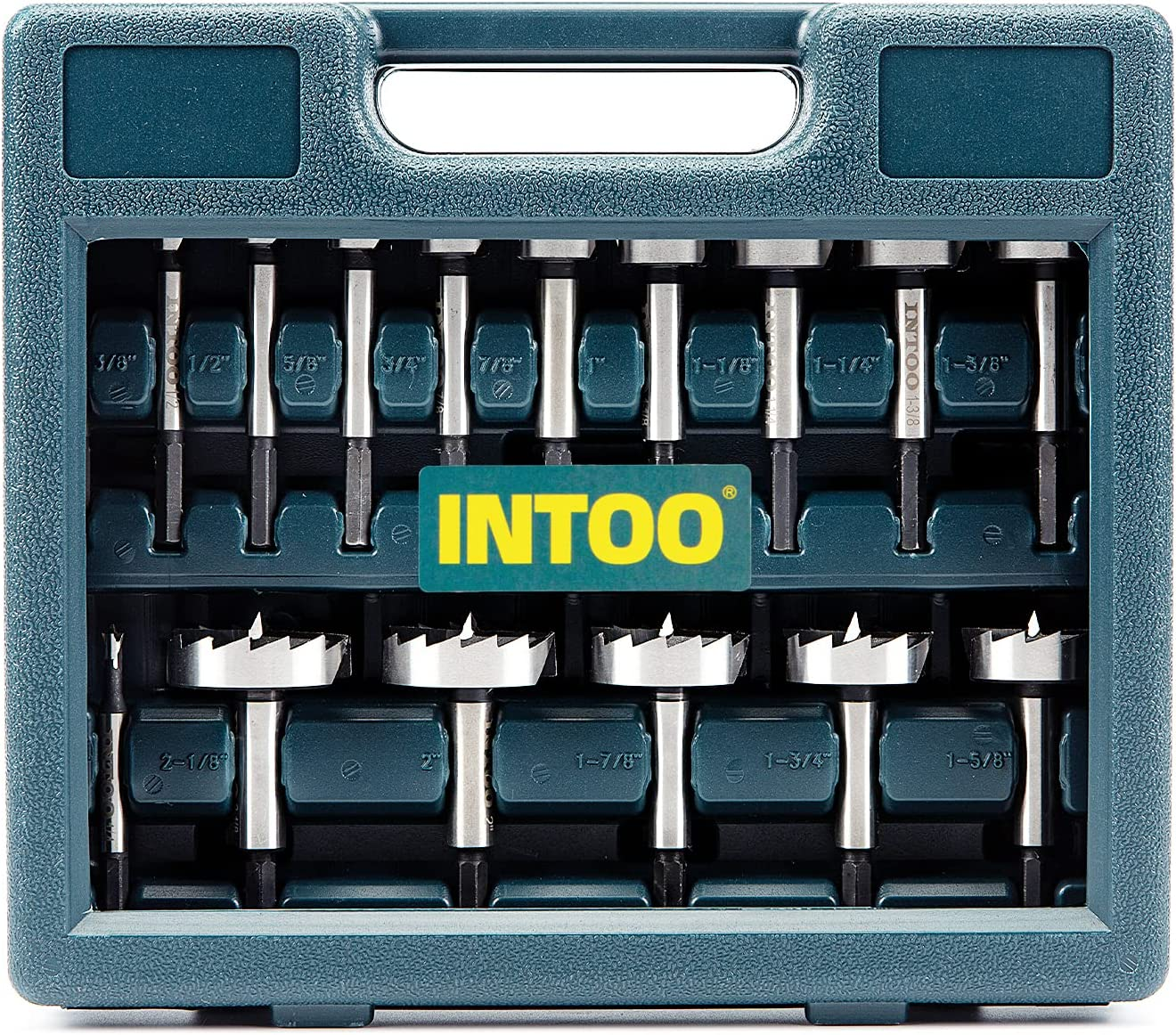 INTOO Hex Shank Forstner Bit Set 16 pcs Multi Sided Shank Wood Drill bit Set