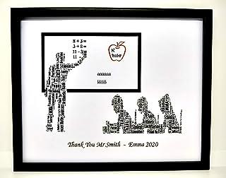 Nuovo design 'Insegnante' personalizzato grazie Word Art (maschio) Design (B) presentato in una cornice frontale di vetro....