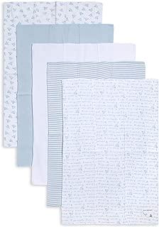Burt's Bees Baby - Burp Cloths, 5-Pack Extra Absorbent 100% Organic Cotton Burp Cloths, Sky Blue Prints