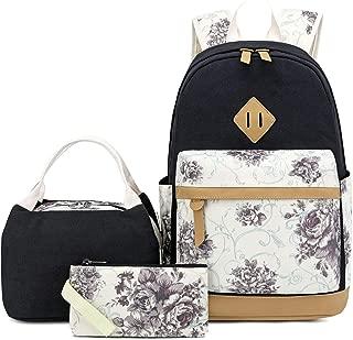 BLUBOON Canvas School Backpack Set 3 Pieces Lightweight Teen Girls Bookbags Tote Bag Pencil Case (Black-flower)