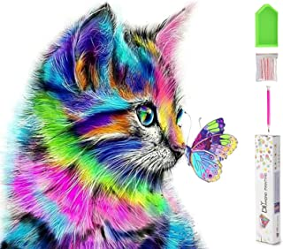 H HOME-MART DIY 5D Diamond Painting by Number Kits for Kids & Adult Colorful Cat Round Rhinestone Embroidery Cross Stitch ...