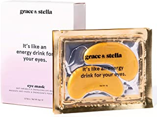Máscara de ojo de colágeno en polvo dorado (12 pares) parches debajo del ojo veganos | Ácido Hialurónico Tratamiento antie...